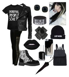 """""""My Style 4 - Emo/Goth"""" by ninellaah ❤ liked on Polyvore featuring Pilot, IRO, T.U.K., Black, ABS by Allen Schwartz, Essie and Lime Crime"""