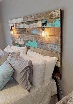 Farmhouse Rustic chippy paint cottage whitewashed grey blue headboard bed distressed wood king queen full twin lights - Riley's headboards - Reclaimed Wood Headboard, Rustic Headboards, Distressed Headboard, Wood Pallet Headboards, Headboards For Beds Diy, Driftwood Headboard, Blue Headboard, Fence Headboard, Bed Headboard Wooden