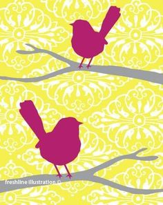 pink birds on yellow and gray