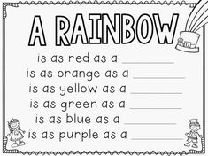 The Bubbly Blonde: St. Patricks Day Craftivity + Free Writing Sheets (Could be used with the song: 'I Can Sing A Rainbow'. Kindergarten Writing, Kindergarten Activities, Writing Activities, Literacy, Preschool, Weather Kindergarten, Rainbow Activities, Color Activities, Science Activities