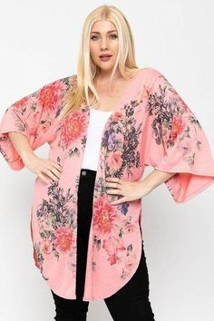 Made In U.S.A 1XL.2XL.3XL Floral print, long body cardigan featuring side slits, and kimono style sleeves. 33% Rayon 63% Polyester 3% Spandex Coral/Floral POL Floral Print, Long Body Cardigan Floral Cardigan, Kimono Cardigan, Long Cardigan, Blouse, Kimono Top, Cardigan Fashion, Kimono Fashion, Outfits Winter, Lightweight Cardigan