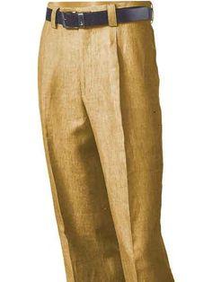 SKU#SM881 Mens Merc/Inserch Dress Casual Slacks Summer 100% Linen Pleated Pant