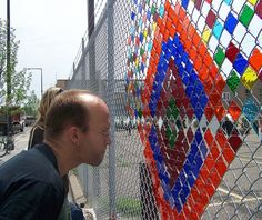 Artist Steve Bougie makes a delicate community offering - Knight Foundation Chain Link Fence Installation, Installation Art, Garden Mural, Garden Art, Dog Yard, Knight Art, House Plants Decor, Fence Art, Yarn Bombing