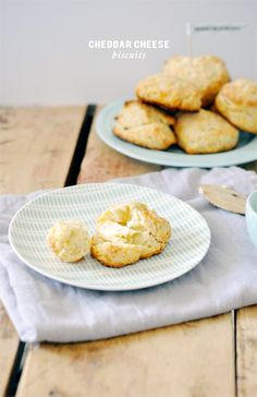 Cheddar cheese biscuits with rosemary butter