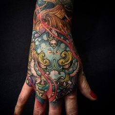 Demon Mask Japanese Tattoo on Hand