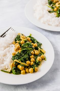 In 20 minutes and 5 ingredients, this simple and super flavorful 20 Minute Golden Chickpea Curry with Spinach for Two is the perfect weeknight dinner.