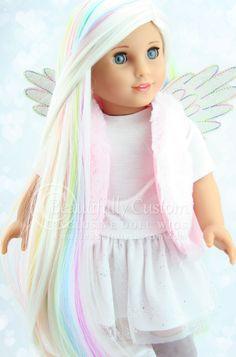 "Unicorn Pastel White Rainbow Highlights Luxury Doll Wig Heat Safe for 18"" Custom American Girl Dolls: Beautifully Custom Exclusive"