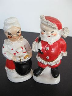 Vintage Mr. & Mrs. Santa Claus salt & pepper shakers (My Mom has the originals from the 50's. They're so cute!)