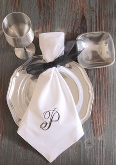 Rachael Monogrammed Napkins Embroidered by WhiteTulipEmbroidery
