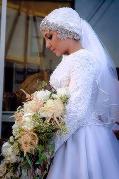 Vintage Turban - Swarovski, pears and lace for a whimsical hijabi wedding
