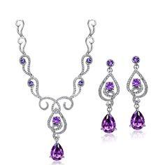 ROYAL VIOLET SET Valentines Gift Pendant Necklace Made With SWAROVSKI CRYSTAL   eBay