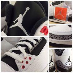 "Available 3/8/14- Jordan: Retro 3 ""Infrared 23""- (MN,GS,PS,TD) White/Black-Cmnt Gry-  #jimmyjazz #trendingnow #Jordan #retro3 #infrared23 #infrared #cementgrey #cement #igsneakercommunity  jimmyjazz.com"