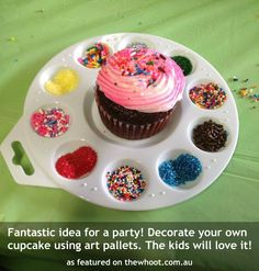 Great idea for a birthday party! Have kids decorate their own cupcake