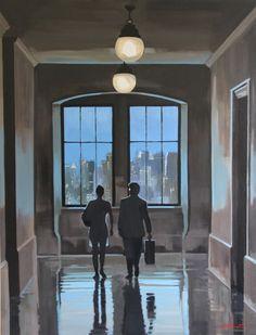 ODINET - By reaching the room. #saintvalentin #valentinesday #amour #love #amor #romantique #romance #romantic #painting #peinture #galeriemarciano #galerie #art #contemporaryart #artcontemporain #fineart #odinet #couple #night