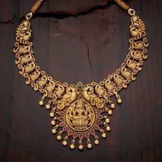 Exclusive Peacock & Lakshmi Design #Silver #Temple #Necklace & #Earrings!
