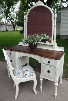 vintage furniture antique vanity refinished in french vanilla, painted furniture, Voila I also found this sweet little chair to go with Refurbished Furniture, Paint Furniture, Repurposed Furniture, Shabby Chic Furniture, Furniture Projects, Rustic Furniture, Furniture Making, Furniture Makeover, Vintage Furniture