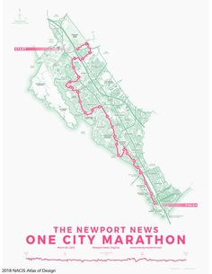 Jonah Adkin's map of The One City Marathon, an annual running event in the City of Newport News, Virginia. City Marathon, Area Map, Newport News, Map Design, Urban Planning, Graphic Design Posters, Event Design, Around The Worlds, The Incredibles