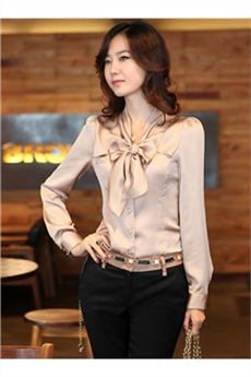 Moda coreana del estilo del nudo del arco Blusa de manga larga