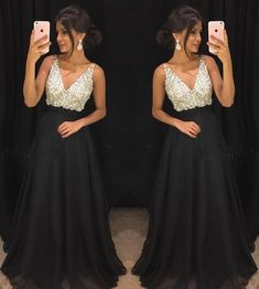 Chiffon Prom Dress,Black PromDress,Beading Prom Dress,V-neck Evening Gowns,Long