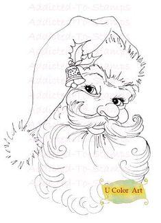 Vintage Santa Digi Doodle Stamp Downloads by Digidoodlestampart, $3.99