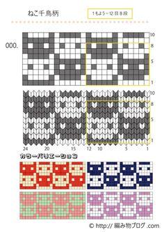 【使える図案第1弾】編み物の編み込み・刺繍に使える!猫・パンダ・英語・数字の無料(フリー)図案12種類 – 編み物ブログ.com Knitting Books, Knitting Charts, Baby Knitting, Beading Patterns, Cross Stitch Patterns, Knitting Patterns, Crochet Patterns, Crochet Chart, Filet Crochet