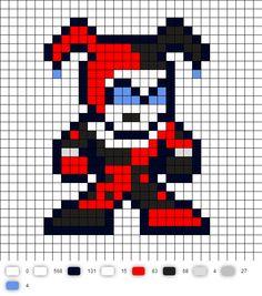 Harley Quinn BTAS Perler Bead Pattern Pearler Bead Patterns, Perler Patterns, Loom Patterns, Beading Patterns, Stitch Patterns, Perler Beads, Perler Bead Art, Fuse Beads, Dc Comics
