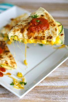 Zucchini & corn quesadillas with spicy homemade salsa #quesadilla #vegetarian #salsa