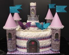 Princess Castle Diaper Cake with washcloth dragons, fit for a Prince too - Sharikay's Kreations on Etsy.com