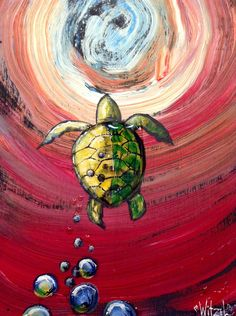 """Turtle What?"", acrylic on panel, 32""x16""."