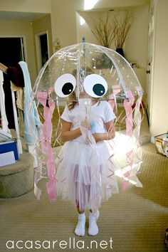 DIY jellyfish costume and it really lights up! perfect opportunity for a lesson in bioluminescence