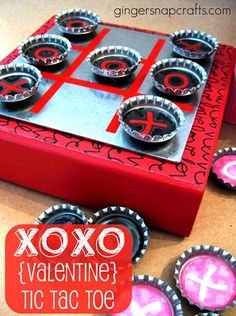 Magnet tic-tac-toe. I won't make it valentines themed but it is a cute idea for my magnet boards!