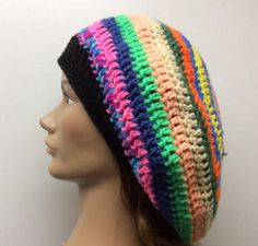 Slouchy hat, Rasta hat, hippie hat, dread tam Hand crochet in a smoke and pet free environment Acrylic yarn This item is made and ready to ship Hippie Hair Bands, 70s Hats, Shark Hat, Floppy Straw Hat, Sun Hats For Women, Slouchy Hat, Etsy Handmade, Hand Crochet, Knitted Hats