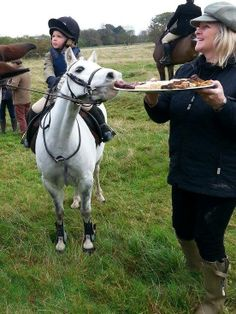 """Why thank you! I'd love a bit to eat before we strike off! Mind bringing the stirrup cup 'round?"" What goes through the minds of our horses is probably quite similar to our own!"
