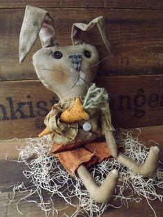Primitive Rabbit Rag Doll Easter Bunny Home Decor