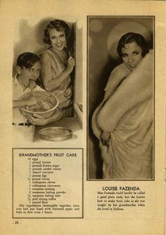 Louise Fazenda - Grandmother's Fruit Cake recipe - silent film star