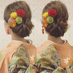 振袖着付け&ヘアセット きっちりさせ過ぎない 下めのアップ 秋らしい紅葉の振袖に つまみ細工とマムを付けて 上品なスタイルに! #ヘア #ヘアメイク #ヘアアレンジ #結婚式 #結婚式ヘア #サロモ #日本中のプレ花嫁さんと繋がりたい #ウェディング #バニラエミュ #セットサロン #ヘアセット #花 #成人式ヘア #プレ花嫁 #結婚式前撮り #前撮り #着物ヘア #2016冬婚#2017秋婚 #和装ヘア#2016秋婚 #2017春婚 #結婚準備#成人式#和髪#2017秋婚 #2017冬婚 #振袖 #hair