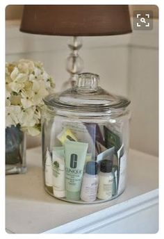 Jar of samples in the guest room for your visitors to use. Great idea!
