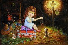 """""""Polly Cat (пасхальные яйца)"""" Холст, масло, 40х60см., 2009г. Картина находится в частной коллекции  katedudnik"""