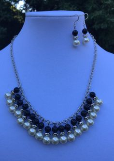 Chain Necklace and Earrings Handmade / Black by MyCreationsDesigns