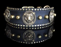 The PITTIE PRIDE handmade leather dog collar w/ brass pit bull conchos, tall flat top and small studs, overlay & cutdown, by Picasso Collars by PicassoCollars on Etsy