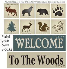 Stencil Welcome Woods Rustic Bear Moose Wolf Tree Pinecone Squirrel Block Trio