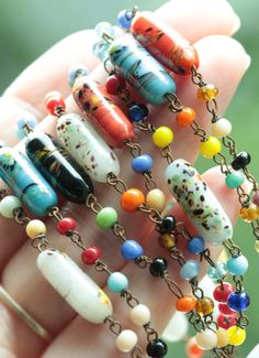 Hey, I found this really awesome Etsy listing at https://www.etsy.com/listing/241310516/color-burst-vintage-glass-bead-necklace  $35