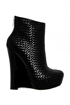 black leather weave wedge ankle boots