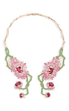 Symmetrical Floral Collar Necklace  by WENDY YUE Now Available on Moda Operandi $125,676.00