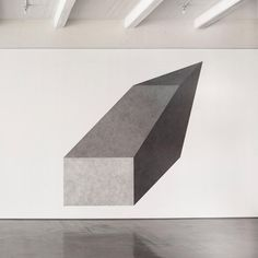 """Sol LeWitt, """"Wall Drawing #411D: Isometric figure with progressively darker gradations of gray ink wash on each plane,"""" 1984. Ink wash on wall. Dimensions variable; within 10 foot square. Dia Art Foundation; Gift of the artist. © The LeWitt Estate/Artists Rights Society, New York. Photo: Bill Jacobson Studio, New York #sollewitt #diaartfoundation"""