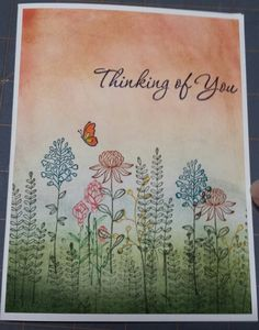 I created this greeting card using the Stampin' Up flowering fields stamp set.
