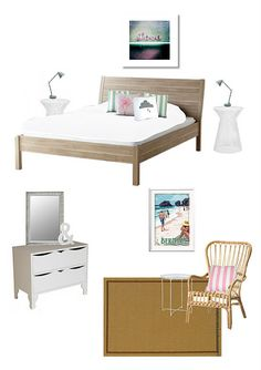 Contemporary coastal bedroom on a budget in shades of pink and mint. By Ethos Design Kits.