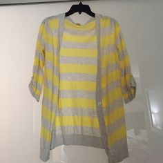 Oatmeal and bright yellow striped sweater In great condition! Mossimo Supply Co. Sweaters Cardigans
