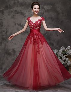 Formal+Evening+Dress+A-line+Scoop+Floor-length+Tulle+with+Ruffles+–+USD+$+79.99