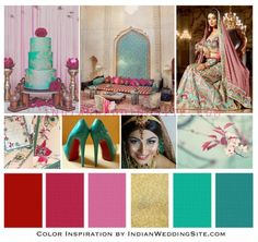 Indian Wedding Color Inspiration – Teal, Red and Pink
